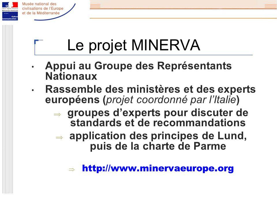 Le projet MINERVA Appui au Groupe des Représentants Nationaux Rassemble des ministères et des experts européens (projet coordonné par lItalie) groupes dexperts pour discuter de standards et de recommandations application des principes de Lund, puis de la charte de Parme http://www.minervaeurope.org