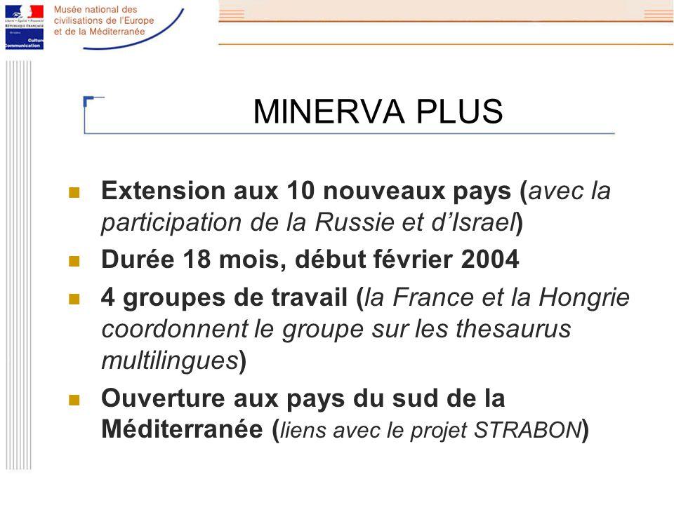 MINERVA PLUS Extension aux 10 nouveaux pays (avec la participation de la Russie et dIsrael) Durée 18 mois, début février 2004 4 groupes de travail (la France et la Hongrie coordonnent le groupe sur les thesaurus multilingues) Ouverture aux pays du sud de la Méditerranée ( liens avec le projet STRABON )
