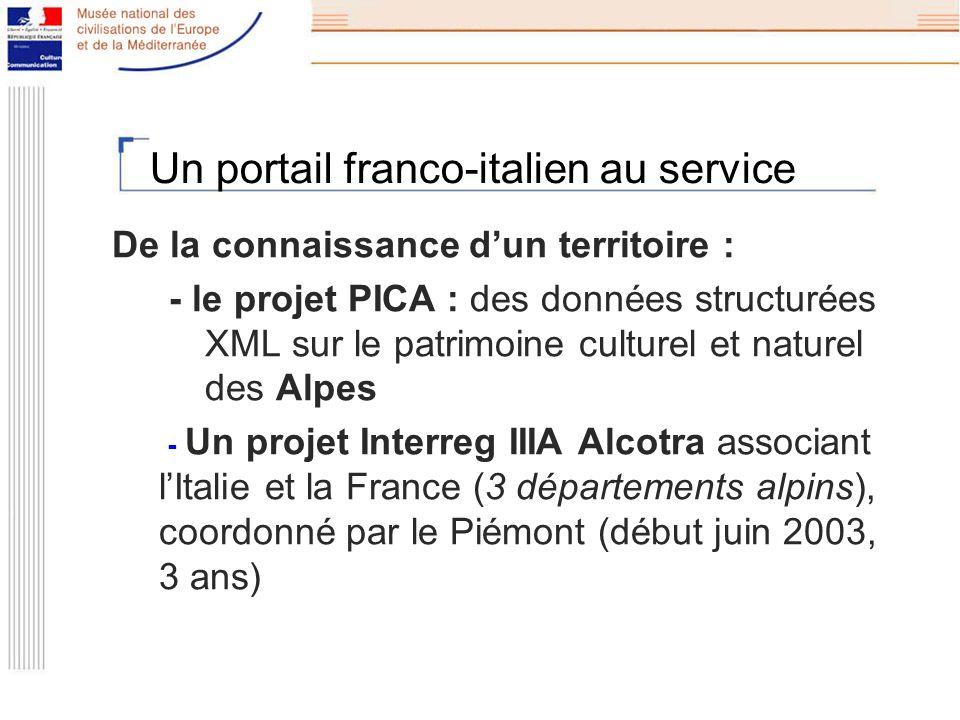 Un portail franco-italien au service De la connaissance dun territoire : - le projet PICA : des données structurées XML sur le patrimoine culturel et naturel des Alpes - Un projet Interreg IIIA Alcotra associant lItalie et la France (3 départements alpins), coordonné par le Piémont (début juin 2003, 3 ans)