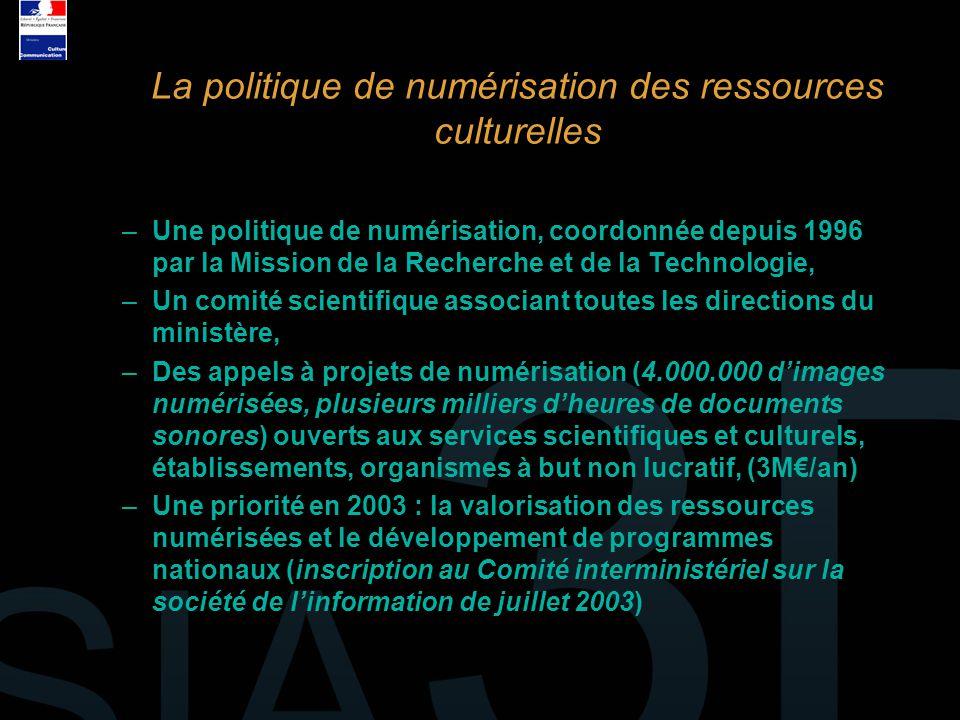 –Une politique de numérisation, coordonnée depuis 1996 par la Mission de la Recherche et de la Technologie, –Un comité scientifique associant toutes l