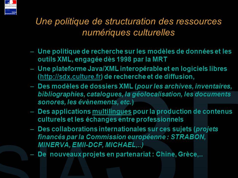 –Une politique de recherche sur les modèles de données et les outils XML, engagée dès 1998 par la MRT –Une plateforme Java/XML interopérable et en log
