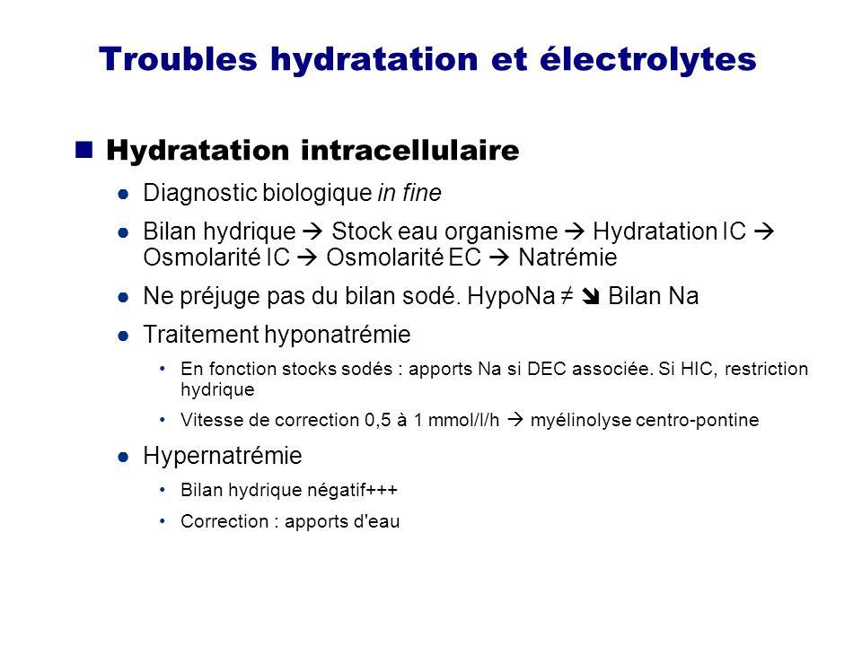 Troubles hydratation et électrolytes Acidose métabolique Série diagnostic positif : pH bas, hypocapnie, normoxie, bicar bas Ne pas dire bicar bas perte bicar .