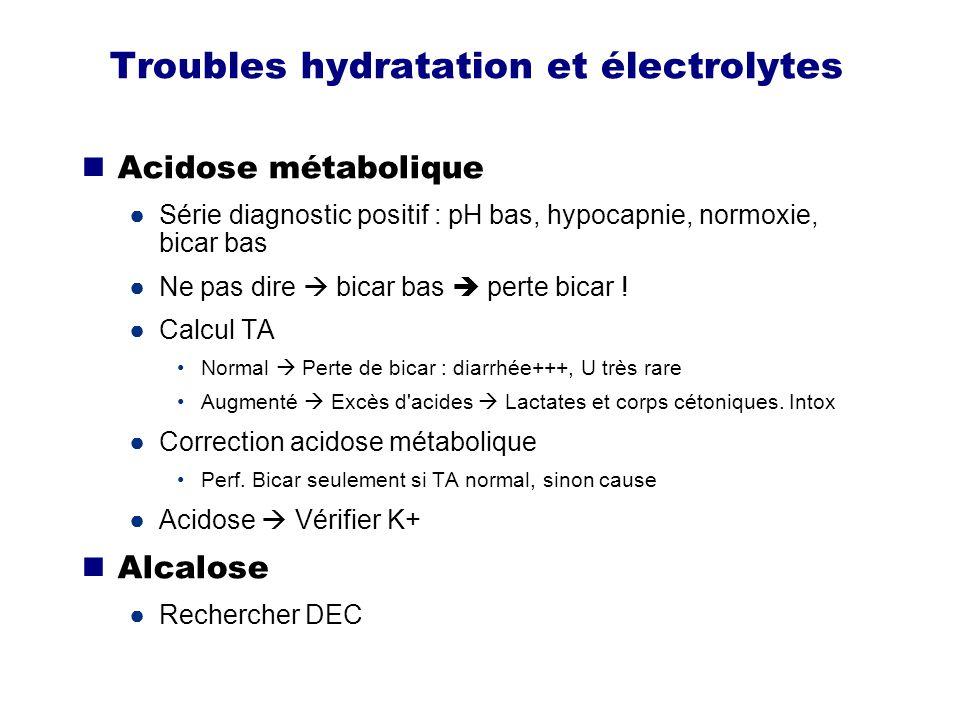 Troubles hydratation et électrolytes Potassium Interpréter avec bicarbonates Acidose augmentation K+ Alcalose diminution K+ Ttt HyperK+ Insuline-glucose = le plus sûr Toujours mentionner possibilité dialyse si IRA Calcium Hypercalcémie : chercher myélome et K dans énoncé
