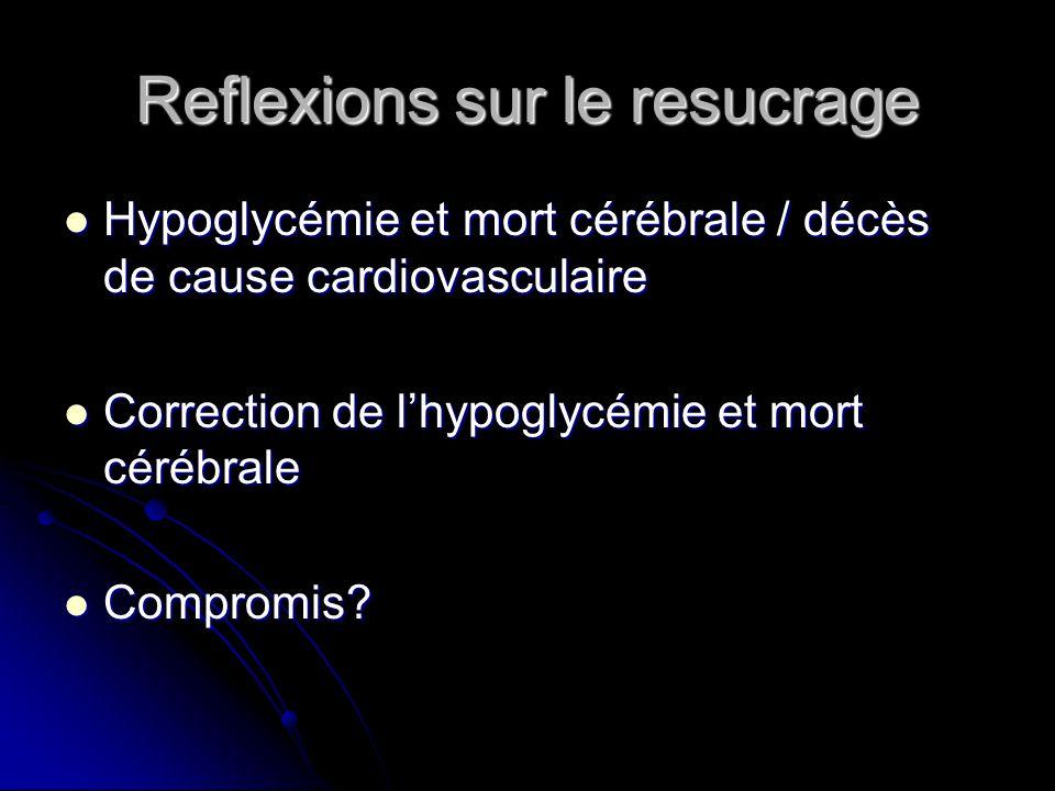 Reflexions sur le resucrage Hypoglycémie et mort cérébrale / décès de cause cardiovasculaire Hypoglycémie et mort cérébrale / décès de cause cardiovas