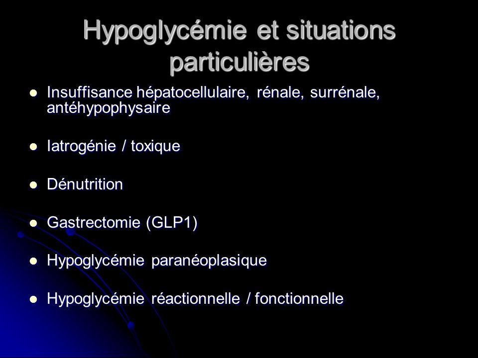 Hypoglycémie auto immune Hypoglycémie sur anticorps anti récepteur de linsuline Hypoglycémie sur anticorps anti récepteur de linsuline Contexte : Contexte : Insulinorésistance extrême Insulinorésistance extrême Pathologie auto immune associée Pathologie auto immune associée Mode de révélation : Mode de révélation : Hyperglycémie avec insulinorésistance Hyperglycémie avec insulinorésistance Episodes dhypoglycémie Episodes dhypoglycémie Activité agoniste partiel Activité agoniste partiel Diagnostic : hypoglycémie hypoinsulémique, présence danticorps anti récepteur de linsuline Diagnostic : hypoglycémie hypoinsulémique, présence danticorps anti récepteur de linsuline Traitement : corticothérapie Traitement : corticothérapie