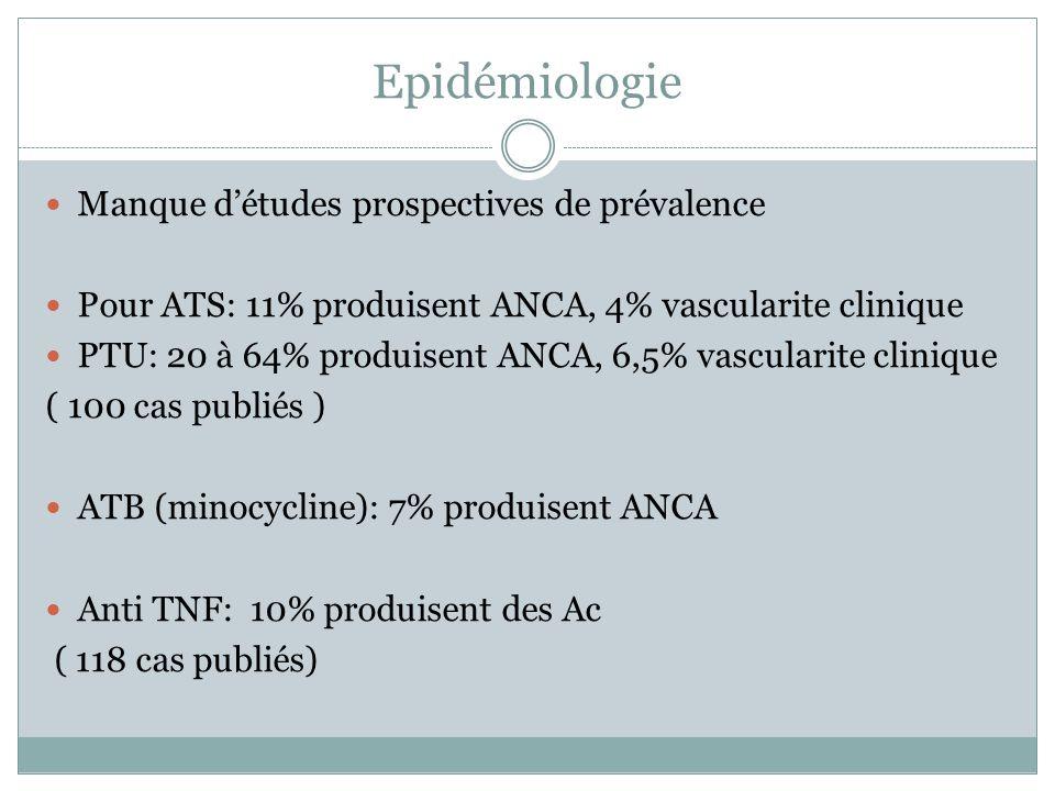 Epidémiologie Manque détudes prospectives de prévalence Pour ATS: 11% produisent ANCA, 4% vascularite clinique PTU: 20 à 64% produisent ANCA, 6,5% vas