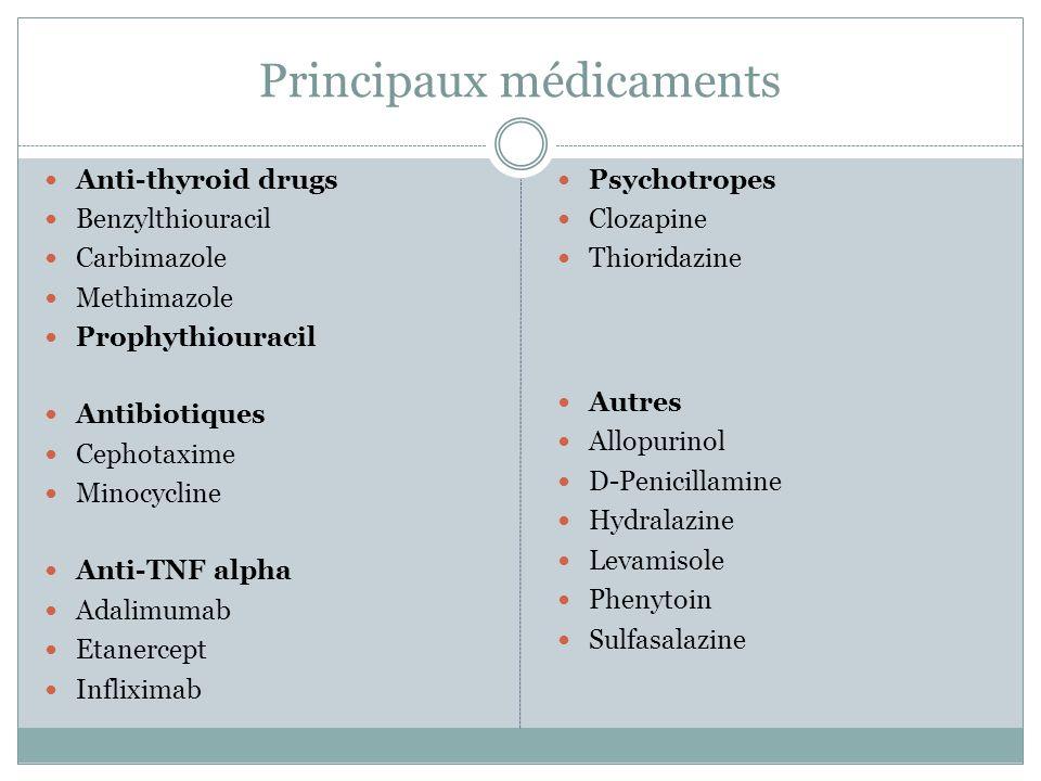 ATS et vascularites PTU>>> néomercazole (ratio 8,3: 1) 50% lupus induits et 50% vascularites Sex ratio 4:1, ethnie japonaise+++ Atteinte organe plus fréquente++ (rein, poumon) Formes plus sévères Longue exposition (42 mois en moyenne) p-ANCA anti MPO+ (réactivité croisée avec TPO) mais formes sévères symptomatiques liées à c-ANCA