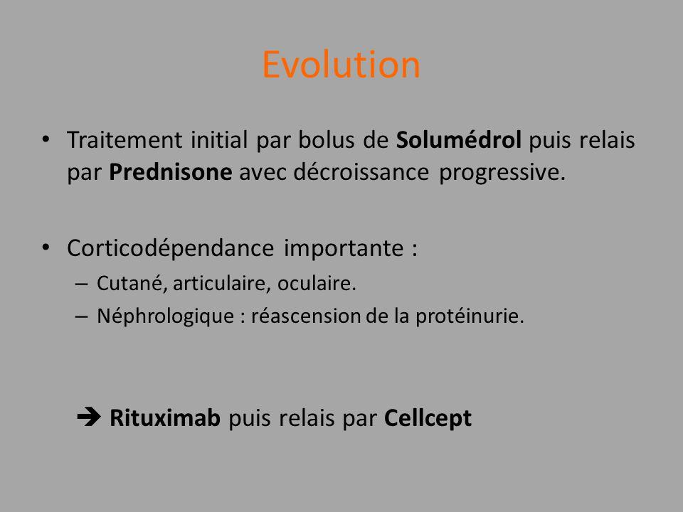 Evolution Traitement initial par bolus de Solumédrol puis relais par Prednisone avec décroissance progressive. Corticodépendance importante : – Cutané