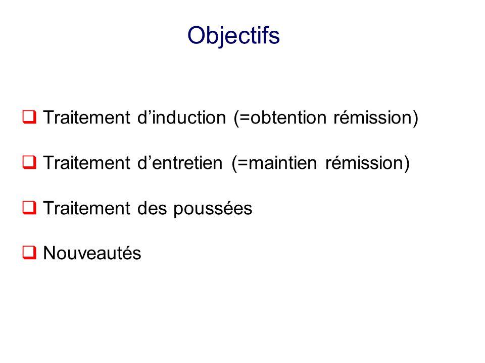 Objectifs Traitement dinduction (=obtention rémission) Traitement dentretien (=maintien rémission) Traitement des poussées Nouveautés