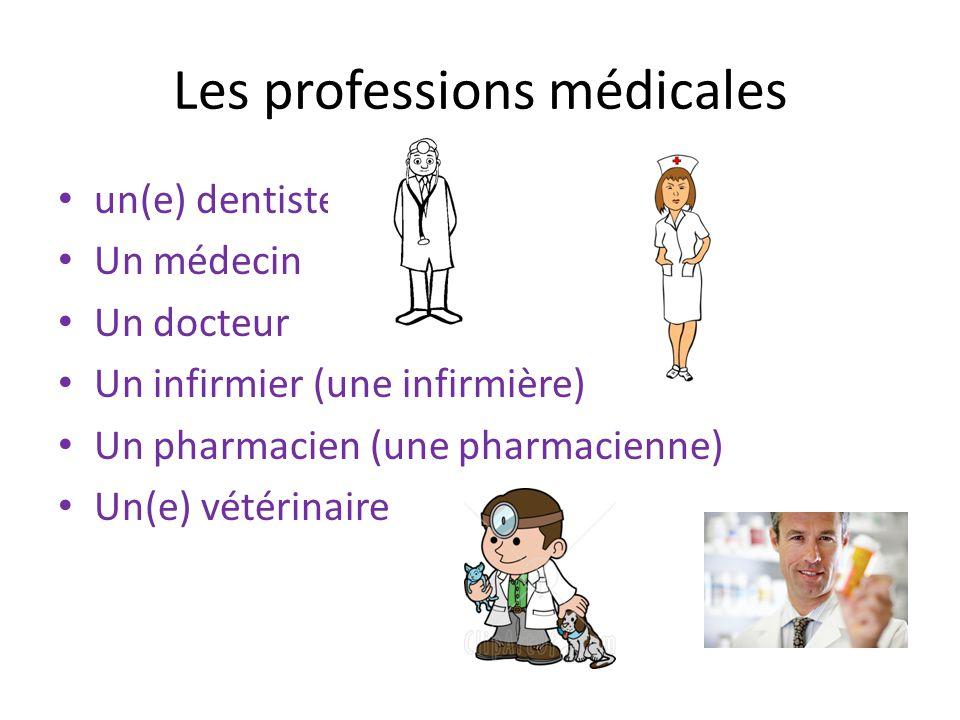 Les professions médicales un(e) dentiste Un médecin Un docteur Un infirmier (une infirmière) Un pharmacien (une pharmacienne) Un(e) vétérinaire