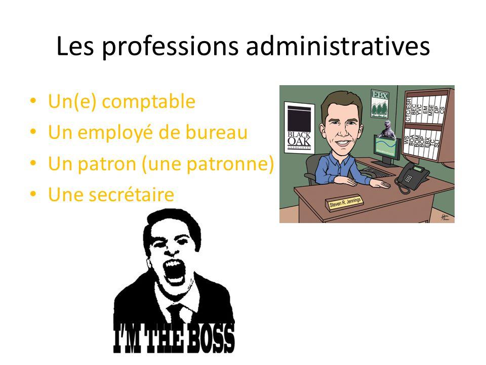 Les professions administratives Un(e) comptable Un employé de bureau Un patron (une patronne) Une secrétaire