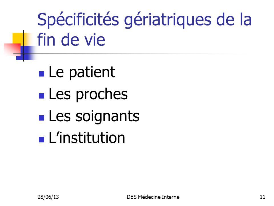 28/06/13DES Médecine Interne11 Spécificités gériatriques de la fin de vie Le patient Les proches Les soignants Linstitution