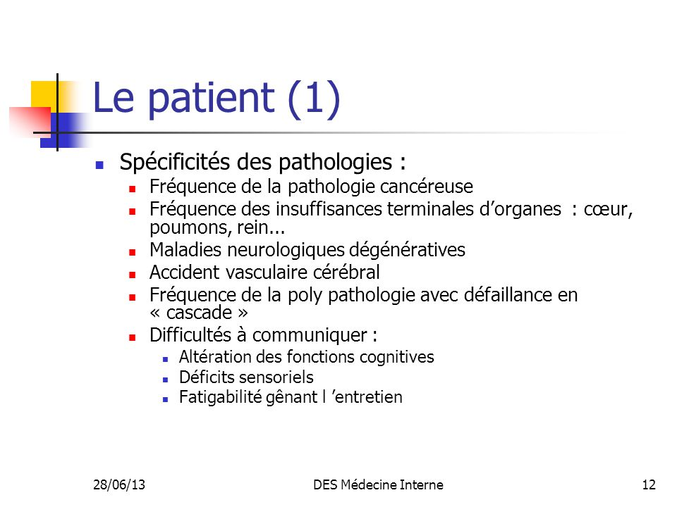 28/06/13DES Médecine Interne12 Le patient (1) Spécificités des pathologies : Fréquence de la pathologie cancéreuse Fréquence des insuffisances termina