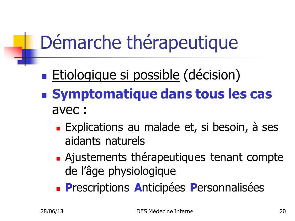 28/06/13DES Médecine Interne20 Démarche thérapeutique Etiologique si possible (décision) Symptomatique dans tous les cas avec : Explications au malade