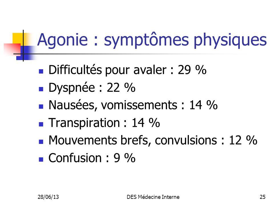 28/06/13DES Médecine Interne25 Agonie : symptômes physiques Difficultés pour avaler : 29 % Dyspnée : 22 % Nausées, vomissements : 14 % Transpiration :
