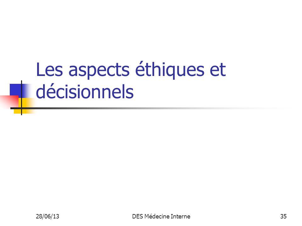28/06/13DES Médecine Interne35 Les aspects éthiques et décisionnels