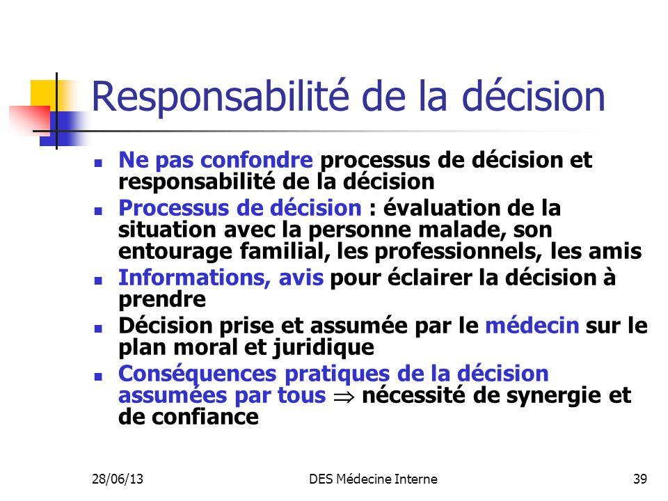 28/06/13DES Médecine Interne39 Responsabilité de la décision Ne pas confondre processus de décision et responsabilité de la décision Processus de déci