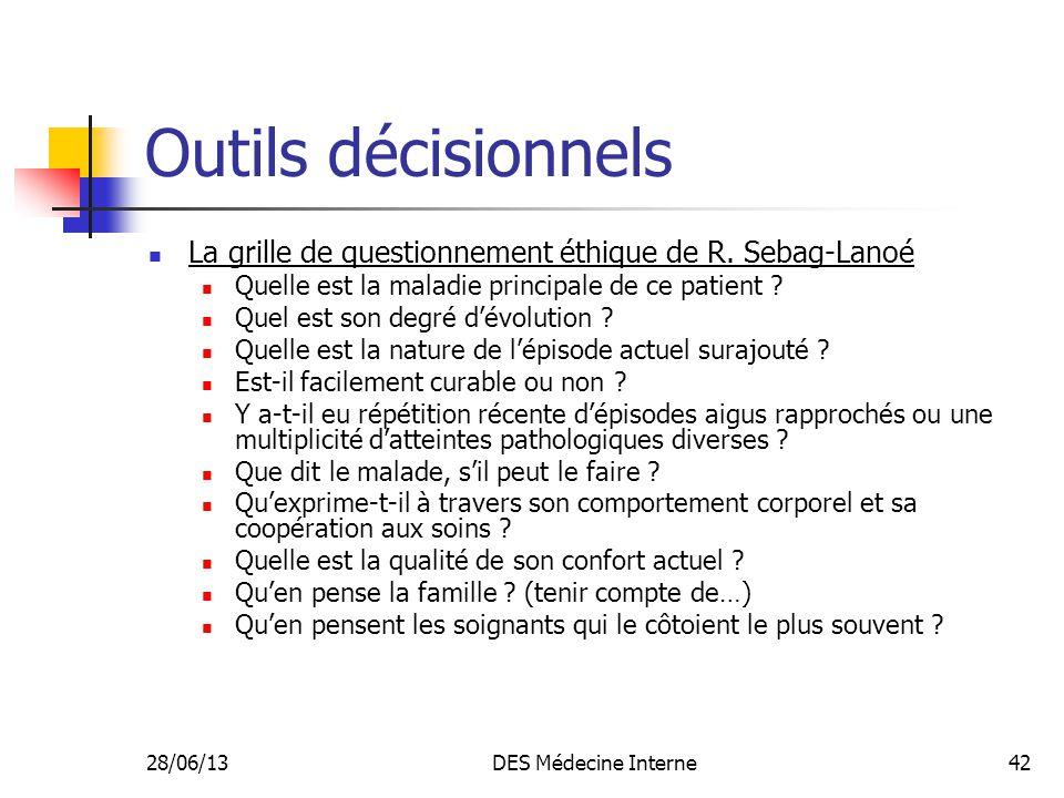 28/06/13DES Médecine Interne42 Outils décisionnels La grille de questionnement éthique de R. Sebag-Lanoé Quelle est la maladie principale de ce patien