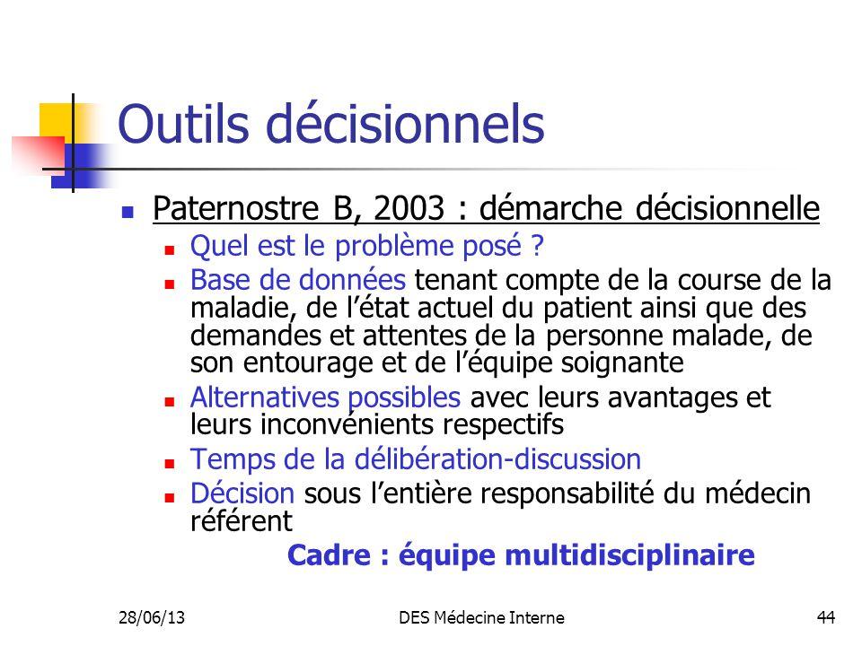 28/06/13DES Médecine Interne44 Outils décisionnels Paternostre B, 2003 : démarche décisionnelle Quel est le problème posé ? Base de données tenant com
