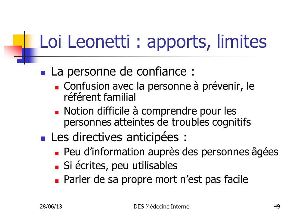 28/06/13DES Médecine Interne49 Loi Leonetti : apports, limites La personne de confiance : Confusion avec la personne à prévenir, le référent familial