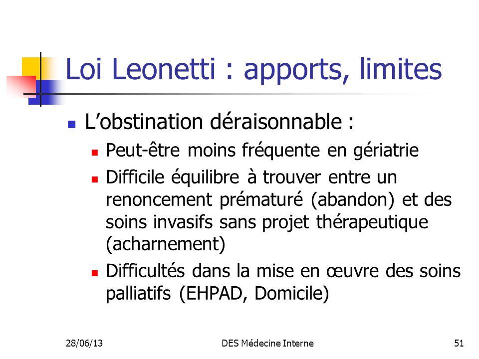 28/06/13DES Médecine Interne51 Loi Leonetti : apports, limites Lobstination déraisonnable : Peut-être moins fréquente en gériatrie Difficile équilibre