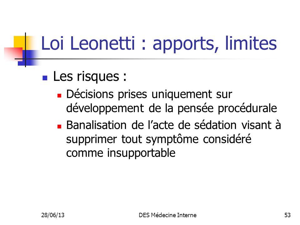 28/06/13DES Médecine Interne53 Loi Leonetti : apports, limites Les risques : Décisions prises uniquement sur développement de la pensée procédurale Ba