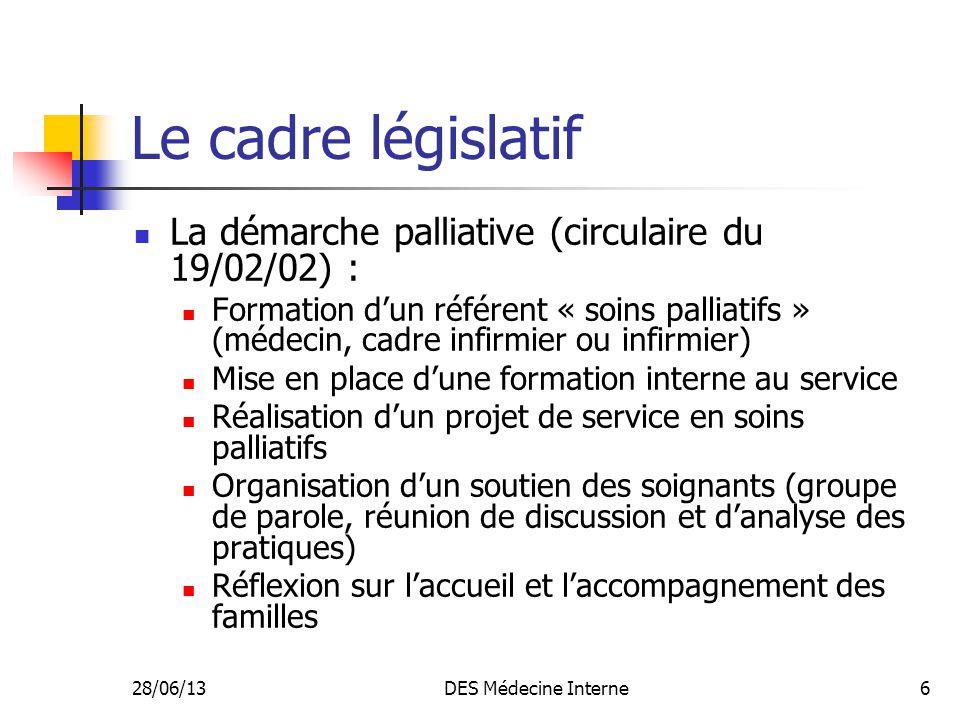28/06/13DES Médecine Interne6 Le cadre législatif La démarche palliative (circulaire du 19/02/02) : Formation dun référent « soins palliatifs » (médec