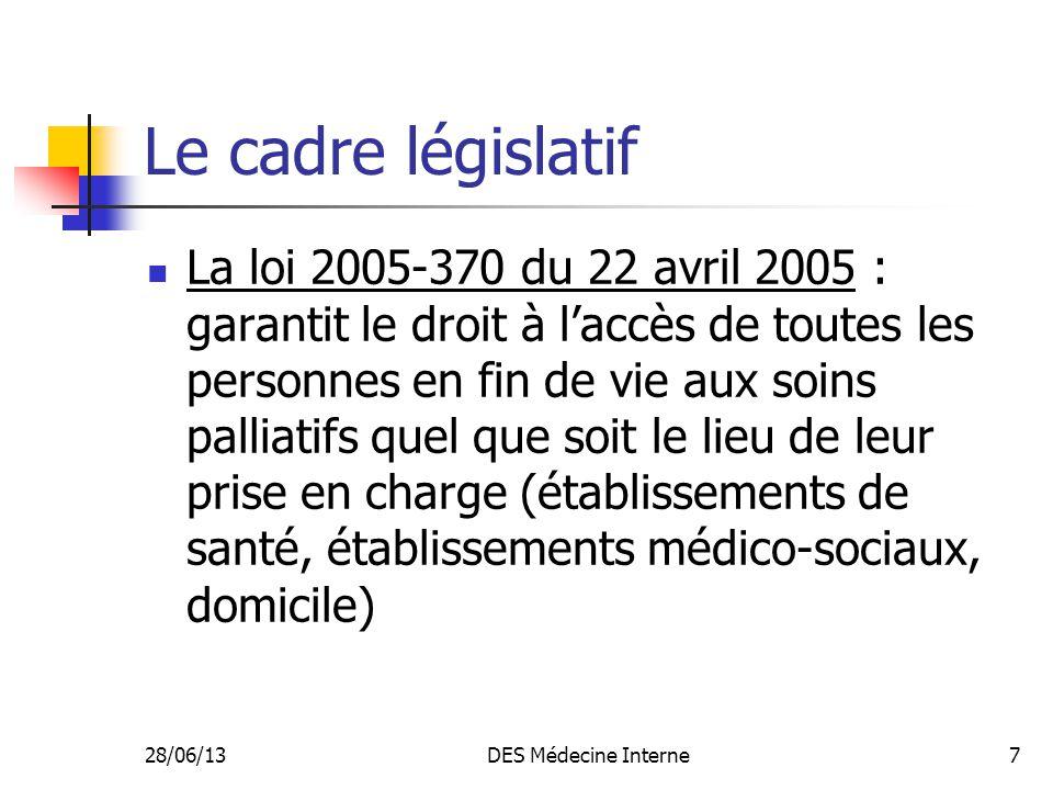 28/06/13DES Médecine Interne7 Le cadre législatif La loi 2005-370 du 22 avril 2005 : garantit le droit à laccès de toutes les personnes en fin de vie