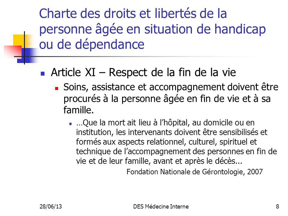 28/06/13DES Médecine Interne8 Charte des droits et libertés de la personne âgée en situation de handicap ou de dépendance Article XI – Respect de la f