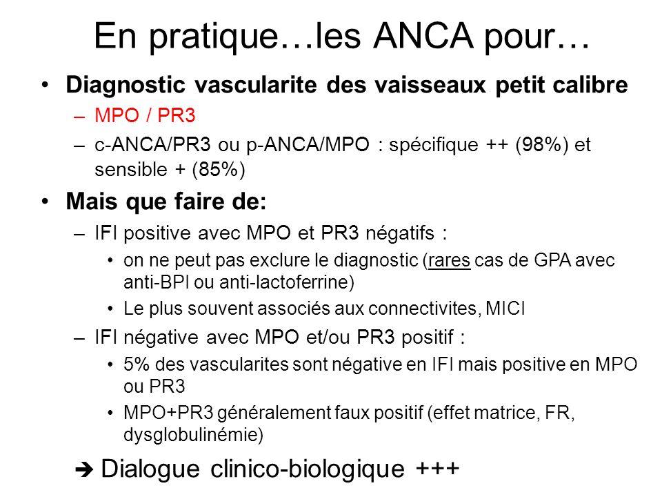 En pratique…les ANCA pour… Diagnostic vascularite des vaisseaux petit calibre –MPO / PR3 –c-ANCA/PR3 ou p-ANCA/MPO : spécifique ++ (98%) et sensible +