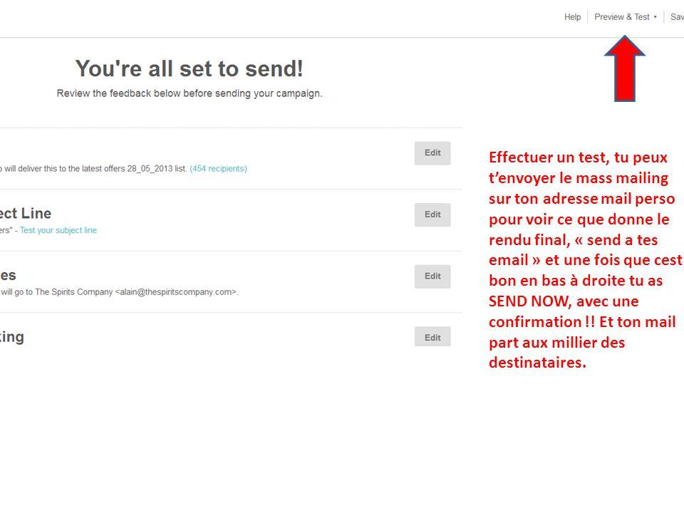 Effectuer un test, tu peux tenvoyer le mass mailing sur ton adresse mail perso pour voir ce que donne le rendu final, « send a tes email » et une fois que cest bon en bas à droite tu as SEND NOW, avec une confirmation !.