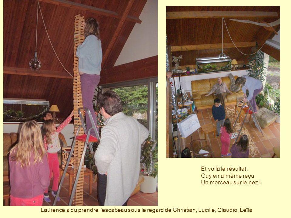 Laurence a dû prendre lescabeau sous le regard de Christian, Lucille, Claudio, Leïla Et voilà le résultat : Guy en a même reçu Un morceau sur le nez !