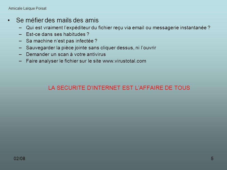 02/085 Se méfier des mails des amis –Qui est vraiment lexpéditeur du fichier reçu via email ou messagerie instantanée ? –Est-ce dans ses habitudes ? –