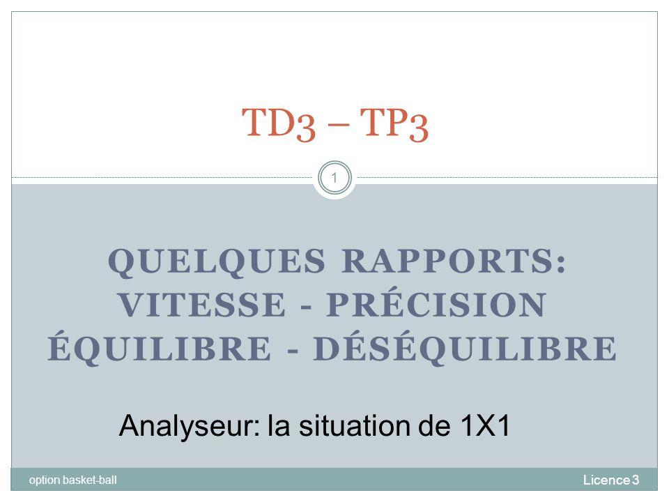 QUELQUES RAPPORTS: VITESSE - PRÉCISION ÉQUILIBRE - DÉSÉQUILIBRE Licence 3 option basket-ball 1 TD3 – TP3 Analyseur: la situation de 1X1