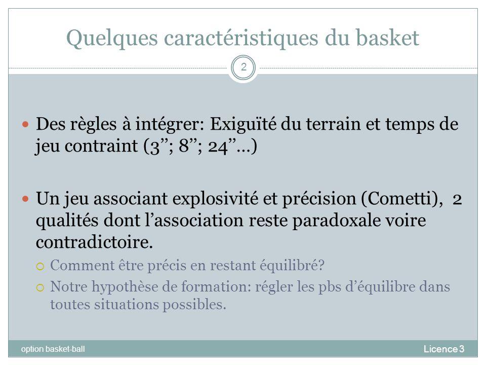Quelques caractéristiques du basket Licence 3 option basket-ball 2 Des règles à intégrer: Exiguïté du terrain et temps de jeu contraint (3; 8; 24…) Un
