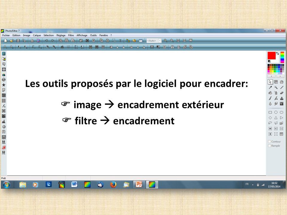 IMAGE ENCADREMENT EXTÉRIEUR Un menu déroulant souvre pour permettre de choisir : largeur du cadre, couleur du cadre, éventuellement une autre photo (rubrique « motif ») comme fond de cadre