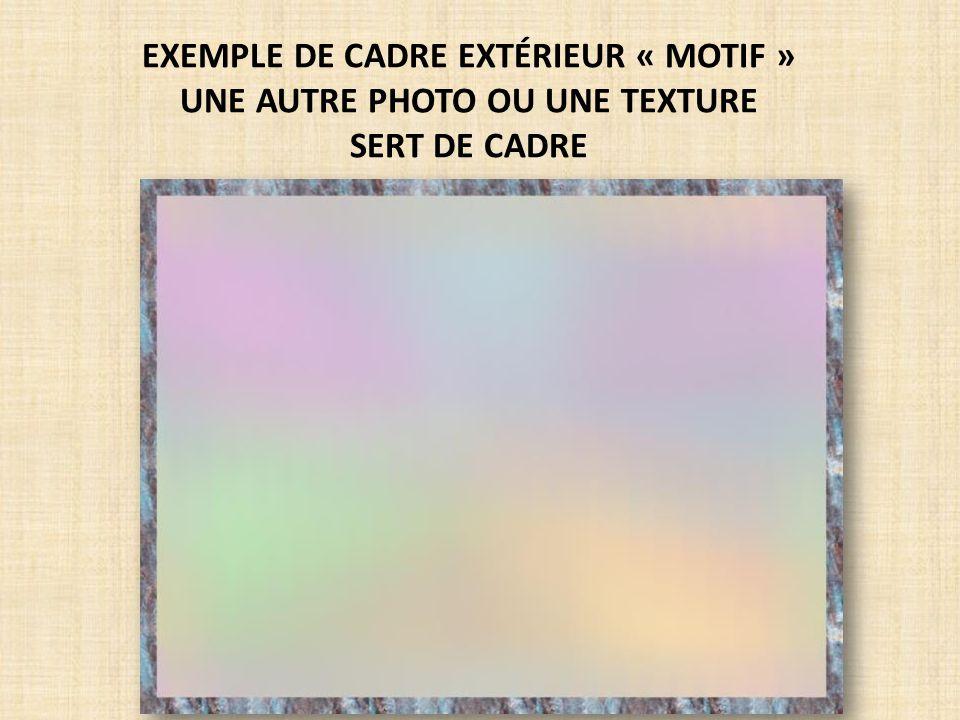 EXEMPLE DE CADRE EXTÉRIEUR « MOTIF » UNE AUTRE PHOTO OU UNE TEXTURE SERT DE CADRE