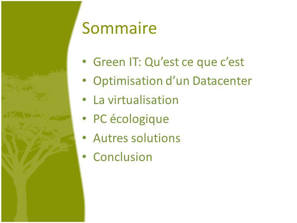 Sommaire Green IT: Quest ce que cest Optimisation dun Datacenter La virtualisation PC écologique Autres solutions Conclusion