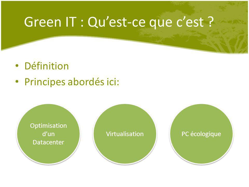 Green IT : Quest-ce que cest ? Définition Principes abordés ici: Optimisation dun Datacenter Virtualisation PC écologique