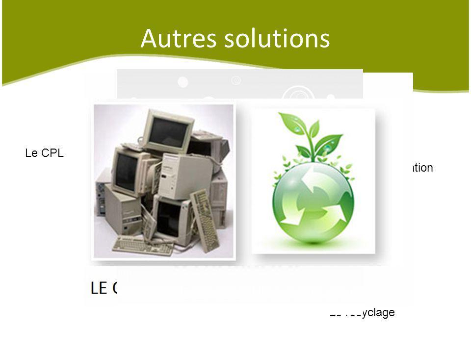 Le recyclage Le CPL Une sensibilisation Autres solutions