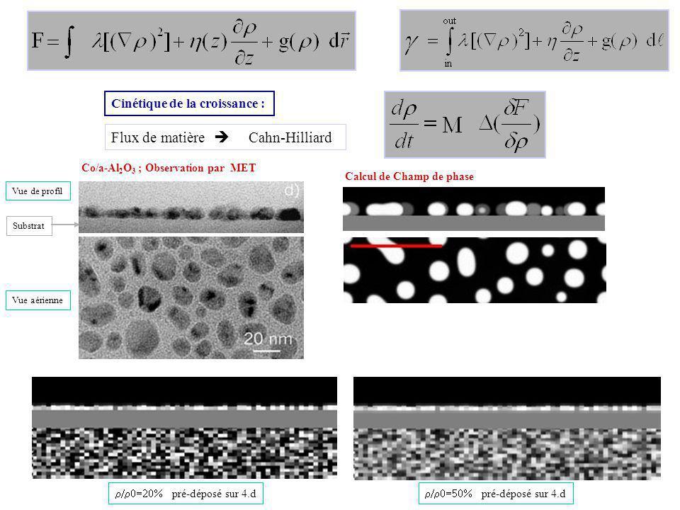 Flux de matière Cahn-Hilliard Cinétique de la croissance : pré-déposé sur 4.d Vue de profil Vue aérienne Substrat Co/a-Al 2 O 3 ; Observation par MET Calcul de Champ de phase