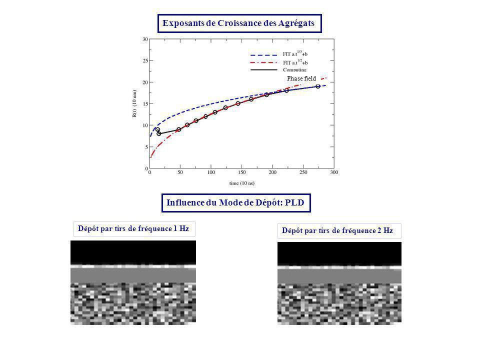 Dépôt par tirs de fréquence 1 Hz Dépôt par tirs de fréquence 2 Hz Exposants de Croissance des Agrégats Influence du Mode de Dépôt: PLD Phase field