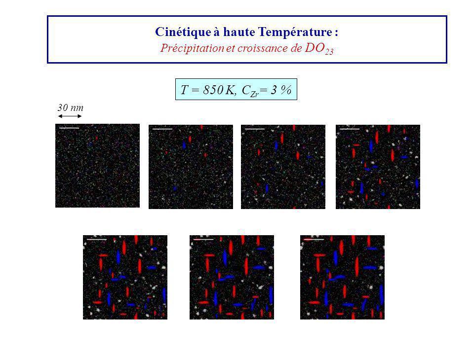 Cinétique à haute Température : Précipitation et croissance de DO 23 T = 850 K, C Zr = 3 % 30 nm