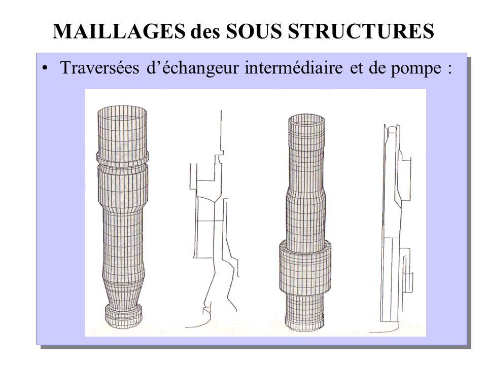 MAILLAGES des SOUS STRUCTURES Traversées déchangeur intermédiaire et de pompe :