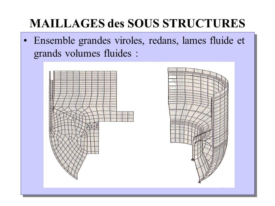 MAILLAGES des SOUS STRUCTURES Ensemble grandes viroles, redans, lames fluide et grands volumes fluides :