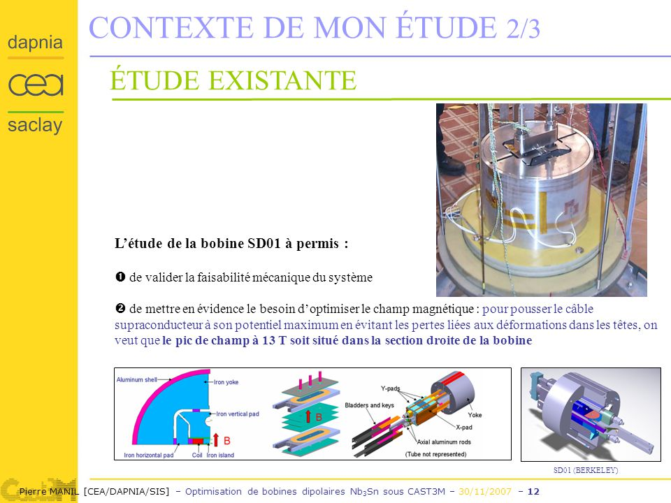 Pierre MANIL [CEA/DAPNIA/SIS] – Optimisation de bobines dipolaires Nb 3 Sn sous CAST3M – 30/11/2007 – 12 CONTEXTE DE MON ÉTUDE 2/3 ÉTUDE EXISTANTE Létude de la bobine SD01 à permis : de valider la faisabilité mécanique du système de mettre en évidence le besoin doptimiser le champ magnétique : pour pousser le câble supraconducteur à son potentiel maximum en évitant les pertes liées aux déformations dans les têtes, on veut que le pic de champ à 13 T soit situé dans la section droite de la bobine SD01 (BERKELEY)