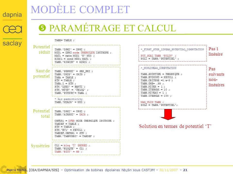 Pierre MANIL [CEA/DAPNIA/SIS] – Optimisation de bobines dipolaires Nb 3 Sn sous CAST3M – 30/11/2007 – 21 MODÈLE COMPLET PARAMÉTRAGE ET CALCUL TABB= TABLE ; TABB. DPHI = DPHI ; MOD1 = DPHI mode THERMIQUE ISOTROPE ; MAT1 = mate MOD1 K MU0 ; RIGC1 = cond MOD1 MAT1 ; TABB. RIGCON = RIGC1 ; TABB. SEPPHI = SEP_PHI ; TABB. ORIG = ORIG ; TABA = TABLE ; STN = TABLE ; TABA.1 = STN ; STN. LGEO = BANTI ; STN. MTYP = TBLOQ ; TABB. POTSYM = TABA ; * Air permittivity TABB. MUAIR = MU0 ; TABB. DPSI = DPSI ; TABB. AIRPSI = DAIR ; OBFER1 = DFER MODE THERMIQUE ISOTROPE ; TABDEF = TABLE ; STN = TABLE ; STN. EV1 = KEVOL1 ; TABDEF.OBFER1 = STN ; TABB. TABNUSEC = TABDEF ; CL1 = bloq T GEOMED ; TABB. BLOQUE = CL1 ; TABB. BIOT = HS ; *_FIRST_STEP_LINEAR_POTENTIAL_COMPUTATION POT_SCAL TABB SOLIN ; SOL1 = TABB. POTENTIEL ; *_NONLINEAR_COMPUTATION TABB.SOUSTYPE = THERMIQUE ; TABB.EVOCOND = KEVOL1 ; TABB.CRITERE =1.e-3 ; TABB.OME=.99 ; TABB.NITER = 1 ; TABB.ITERMAX = 10 ; TABB.NIVEAU = 1 ; TABB.ITERMAX = 100 ; MAG_NLIN TABB ; SOL2 = TABB. POTENTIEL ; Potentiel réduit Saut de potentiel Potentiel total Symétries Pas 1 linéaire Pas suivants non- linéaires Solution en termes de potentiel T