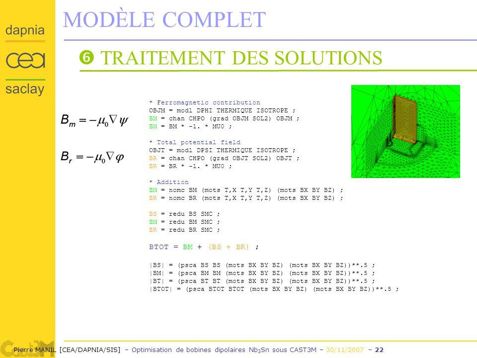 Pierre MANIL [CEA/DAPNIA/SIS] – Optimisation de bobines dipolaires Nb 3 Sn sous CAST3M – 30/11/2007 – 22 MODÈLE COMPLET TRAITEMENT DES SOLUTIONS * Ferromagnetic contribution OBJM = modl DPHI THERMIQUE ISOTROPE ; BM = chan CHPO (grad OBJM SOL2) OBJM ; BM = BM * -1.