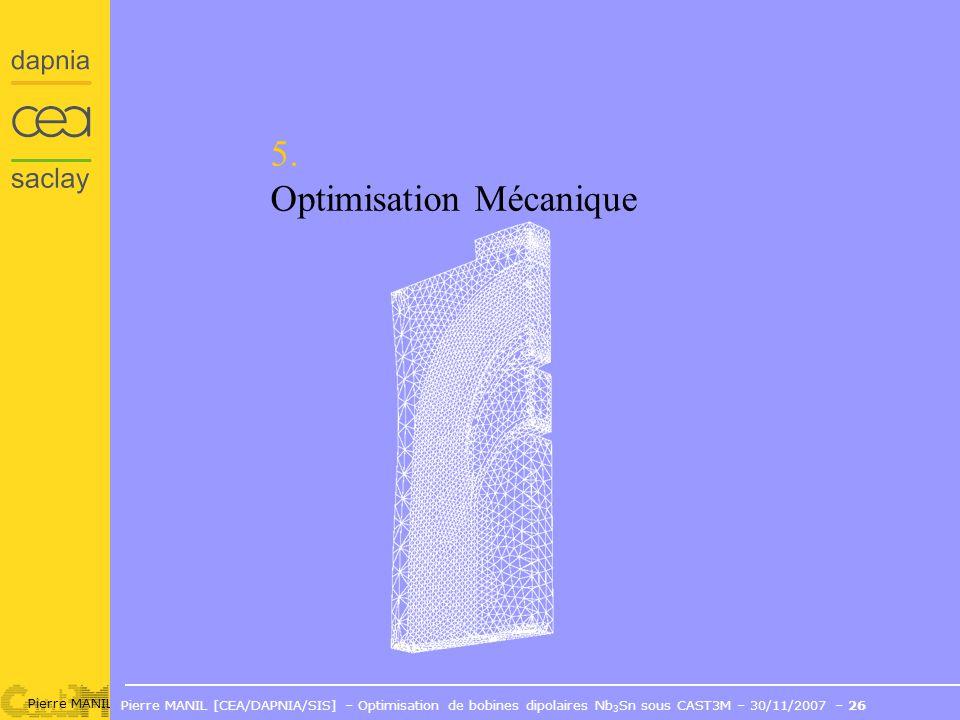 Pierre MANIL [CEA/DAPNIA/SIS] – Optimisation de bobines dipolaires Nb 3 Sn sous CAST3M – 30/11/2007 – 26 5.