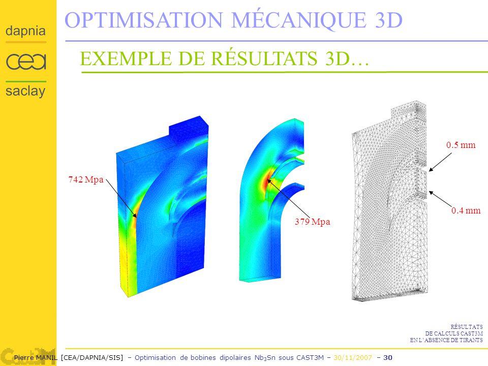 Pierre MANIL [CEA/DAPNIA/SIS] – Optimisation de bobines dipolaires Nb 3 Sn sous CAST3M – 30/11/2007 – 30 OPTIMISATION MÉCANIQUE 3D 742 Mpa 379 Mpa 0.5 mm 0.4 mm EXEMPLE DE RÉSULTATS 3D… RÉSULTATS DE CALCULS CAST3M EN LABSENCE DE TIRANTS